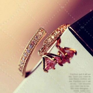 New Exquisite Fashion Crystal Charm Titanium Steel Plated 14K Gold Adjustable Women's Ring $48.79