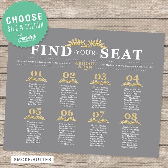 Wedding Seating Chart  Printable PDF  by FreckledStationery, $35.00