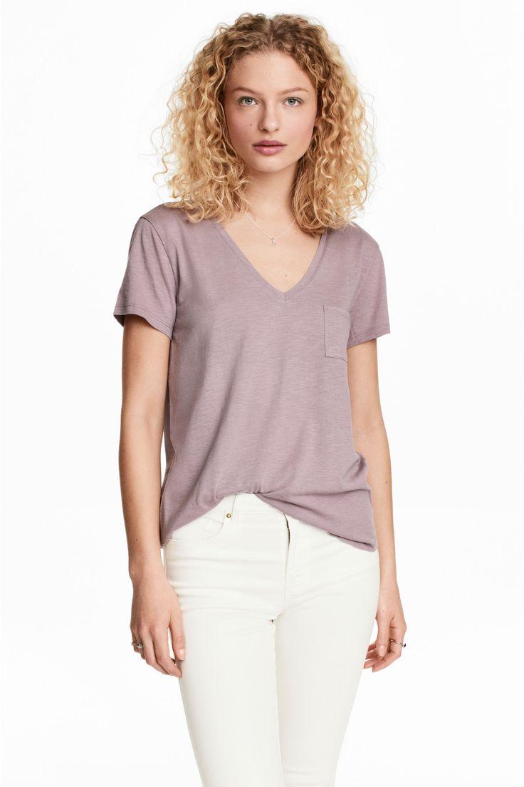 Shirt mit V-Ausschnitt - Flieder - DAMEN   H&M CH 1