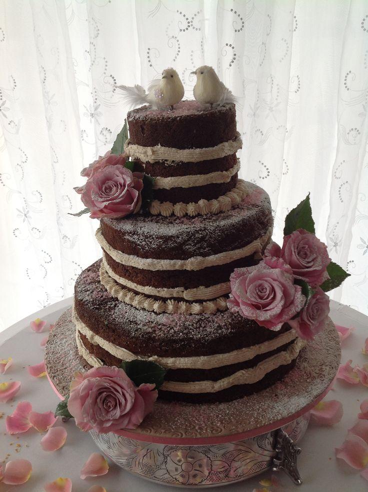 Naked cake with fresh roses -Helens Cake Craft