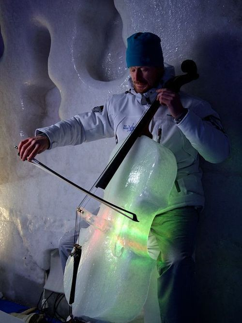 Ice Cello made by Tim Linhart for his Ice Music Project in Lulea, Sweden.| I know the title is violins, but isn't this awesome??! :D