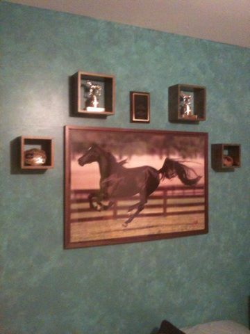Faux finish mottled turquoise wall i painted in our daughters bedroom western inspired several