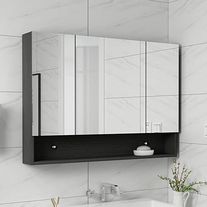 Rkrzlb Illuminated Mirror Wall Bathroom Cabinet With Mirrors Bamboo Double Mirror Wall Mou In 2020 Bathroom Mirror Cabinet Mirror Wall Bathroom Wooden Bathroom Storage