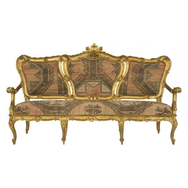 Jayson Home Antique Gilt Settee ($2,750) ❤ liked on Polyvore featuring home, furniture, sofas, sofa, victorian, antique sofa, antique couch, outdoor settee, outside furniture and outdoor couch