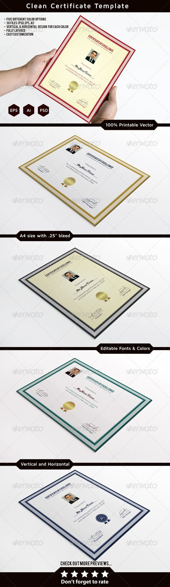 Best 25 certificate templates ideas on pinterest gift clean certificate template certificate template psd vector eps vector ai download here yelopaper Image collections