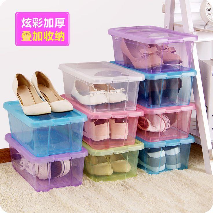 Толще пластик может быть наложена прозрачная коробка ботинка ботинка муфта организовать ящик для хранения с крышкой пылезащитный коробка-Таобао хранения
