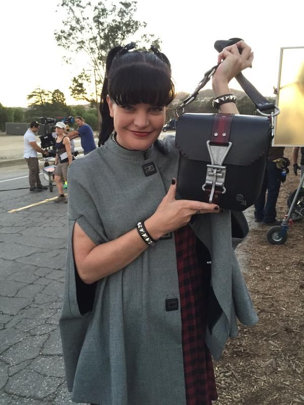 """Abby left the NCIS lab. On location with awesome bag my babe, Taime Downe, made."""