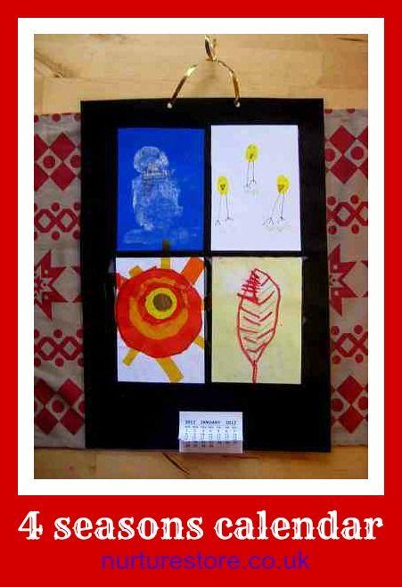 Such a great calendar idea that kids can make: four seasons calendar craft Great Christmas craft / gift