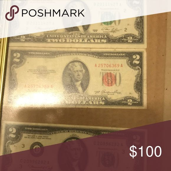Silver certificate 1953 and two two dollar bills. …