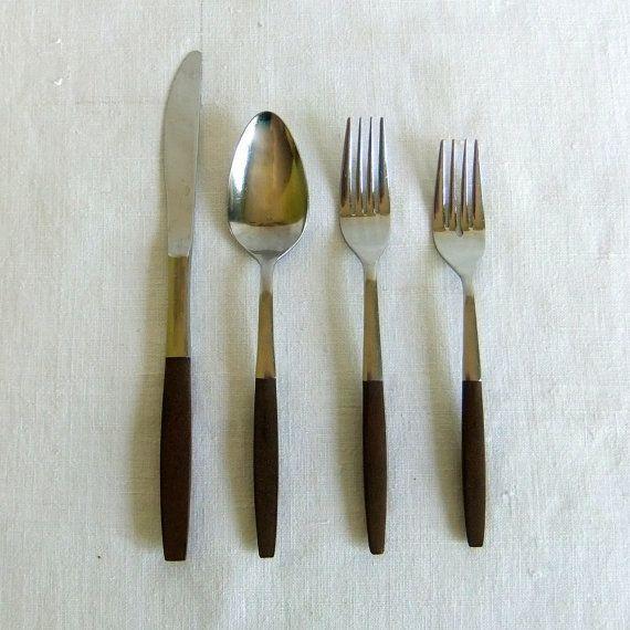 17 piece set of Vintage Interpur Flatware - Stainless & Composite Wood Handle, Scandinavian, Mid Century