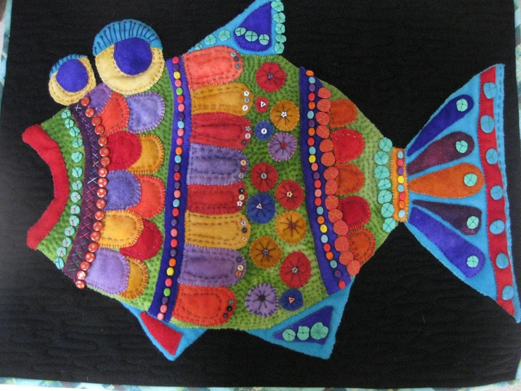 Folk Art Wool Fish-  Mary Lou Weidman