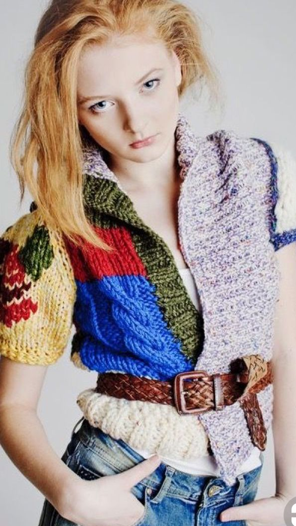 Now that's the way to recycle jumpers and cardigans beyond repair mix and match the body and sleeves of a number of old Woolies and make an en trend boho patchwork top instead.