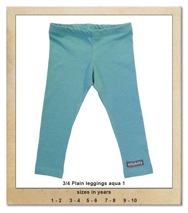 Sillybilly© clothing: 3/4 plain leggings aqua 1