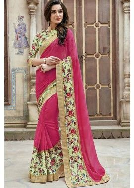couleur rose georgette saree, -  111,00 €,  #Sariindienmariage  #Sarimariage  #Sariindien  #Robeindienne  #Sariindien2017  #Tenueindienne  #Shopkund