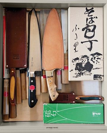 """Martha has collected Japanese knives on trips to Tokyo and Kyoto (many from centuries-old knife maker Aritsugu). """"These are my favorites,"""" she says."""