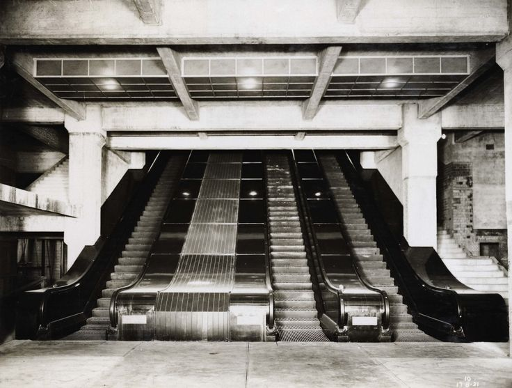 Wynyard Station escalators, York St. entrance on completion 1931