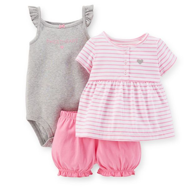 美國代購童裝Carter's卡特2015春夏款小童女寶短褲+T恤+背心3件組