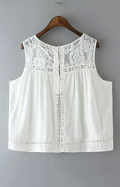 women sweet white lace pleated tops crop blouse sleeveless split short shirts…