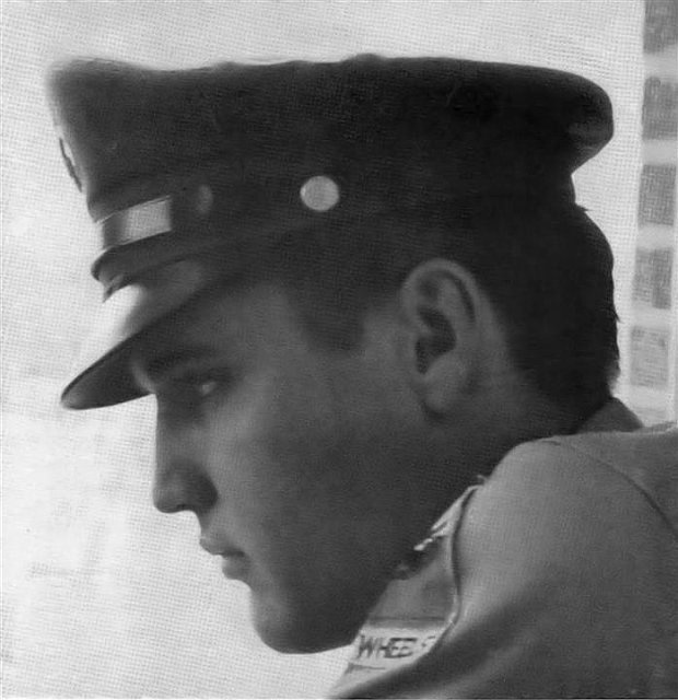 Elvis at the Methodist Hospital awaiting word of his mother Gladys's condition; August 12 or 13, 1958