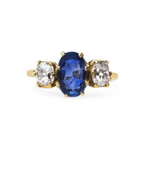 @Belle the Magazine Ring Gallery   Trumpet & Horn Vintage Rings   Engagement Rings Gold Round Sapphire 3-Stone $$$$ (6,001-10,000)