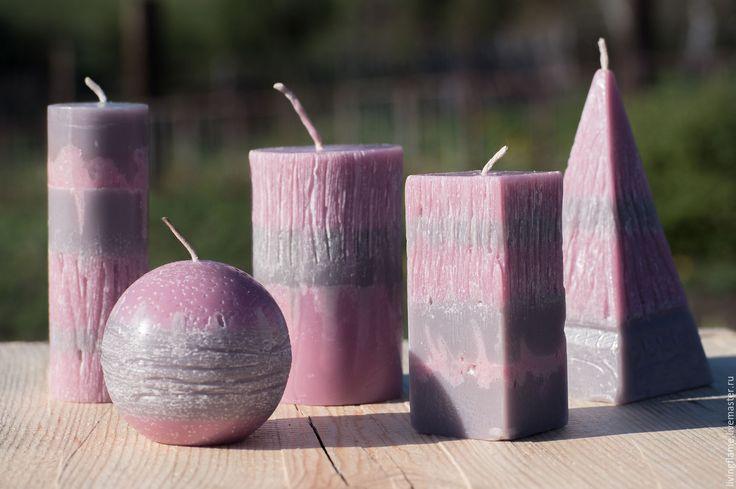 Купить Набор из 5 свечей. Интерьерные арома свечи. - розовый, серый, серо-розовый, Свечи