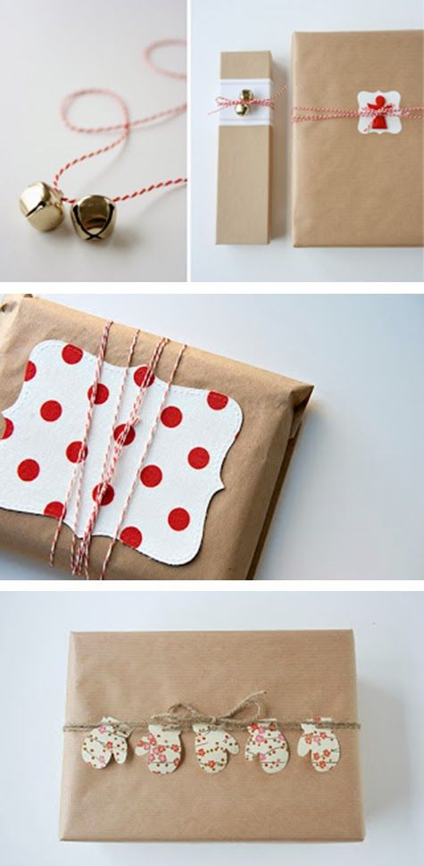 Wrapping idea: craft paper and red and white twine.
