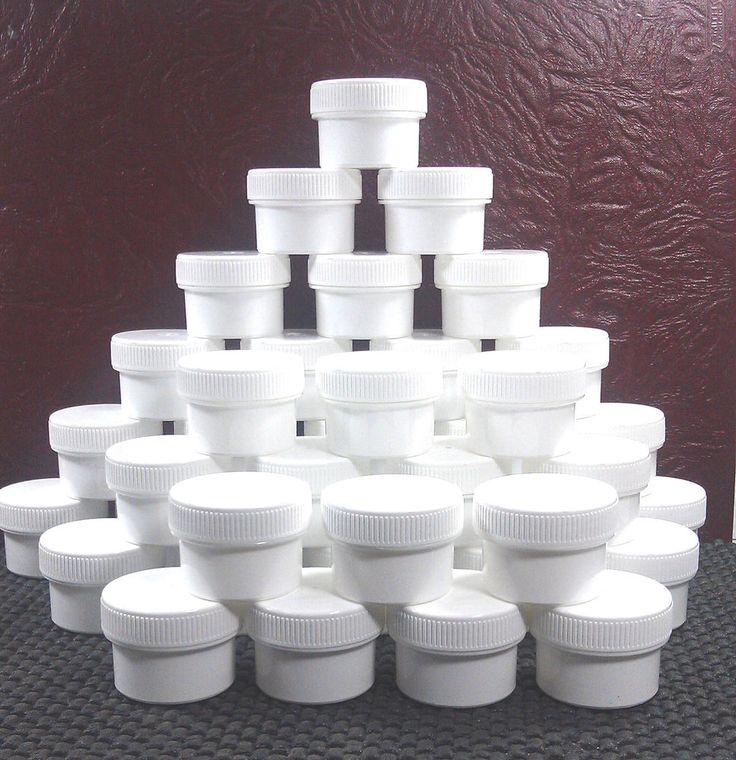 100 Small 1 TBLSP Opaque White Jar 1/2oz Containers 3803 Screw Caps DecoJars USA #DecoJars