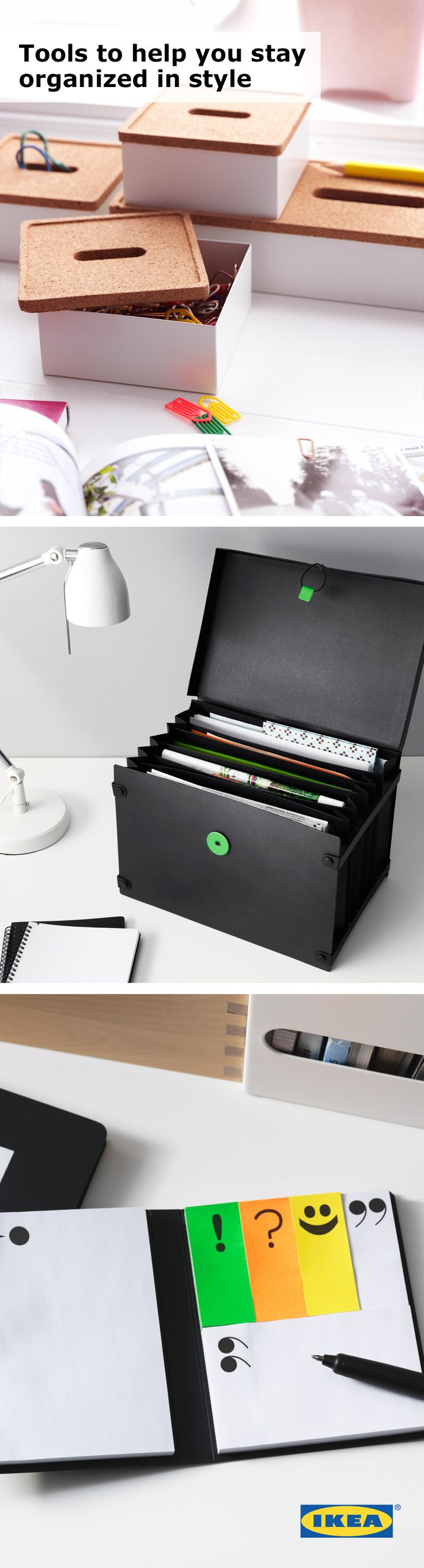 Stay organized in style! All of those college classes are no match for IKEA organization! Find all of the sticky notes and paper clips you need to keep you organized while you're studying. #IKEAStudyInStyle