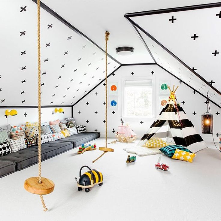 """Now THAT'S a #playroom. See this incredible family… #kinderkamer #kids #room zwart wit Black white"