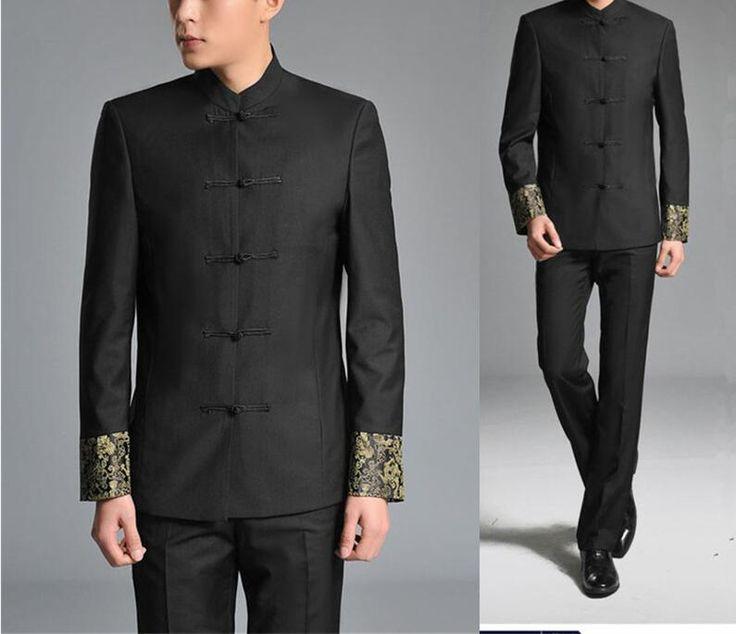 2 Pcs Jacket+Pants Chinese Tunic Suits Men Stand Collar Black Suit Male Slim School Wear Men Blazer Fress Shipping 17 //Price: $82.98 & FREE Shipping //     #hashtag3
