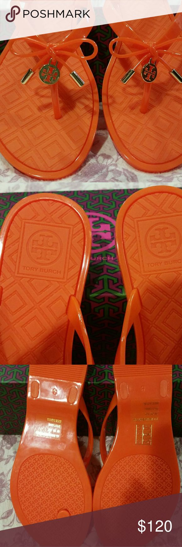 """Tory Burch Poppy Orange Flip Flop """" NWT """" Beautiful Orange Tory Burch Flip Flops... great for summer and spring , very eye catching with gold accents.. great price... Tory Burch Shoes Sandals"""