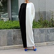Одежда ручной работы. Ярмарка Мастеров - ручная работа Черно-белое длинное макси платье, кафтан, абайя с длинным рукавом. Handmade.