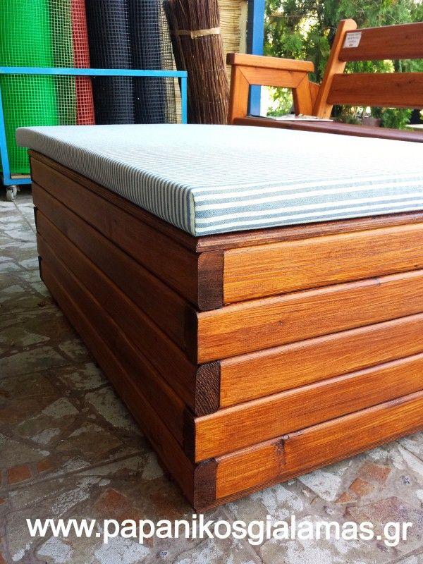 Ξύλινο μπαούλο-κάθισμα για αποθήκευση ξύλων-εργαλείων