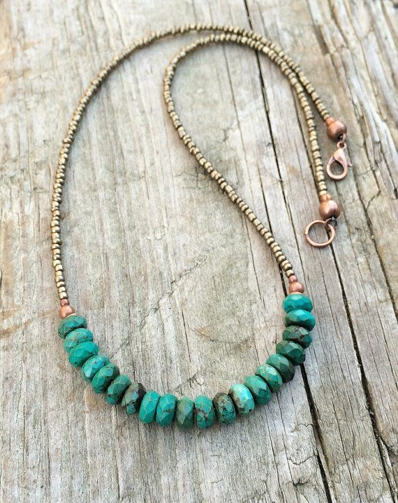 Turquoise Necklace, Turquoise with Bronze Beaded Jewelry