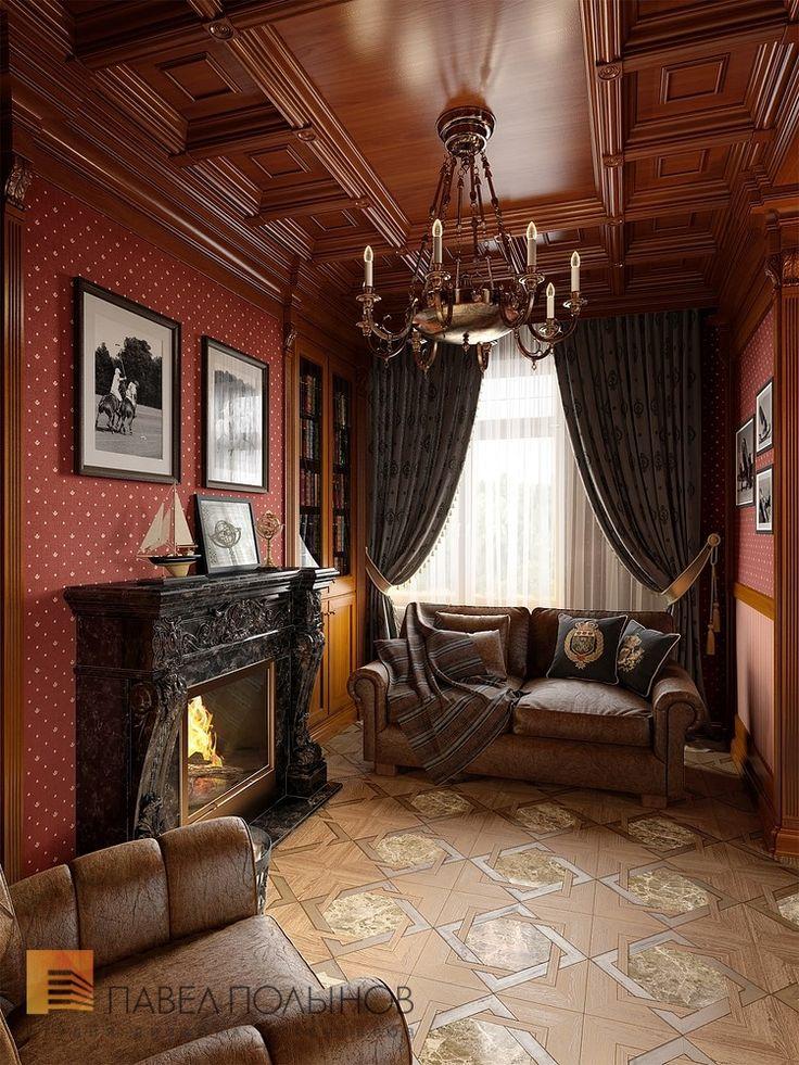 Фото: Кабинет с камином - Интерьер загородного дома в стиле легкой классики, КП «Альпино», 430 кв.м.