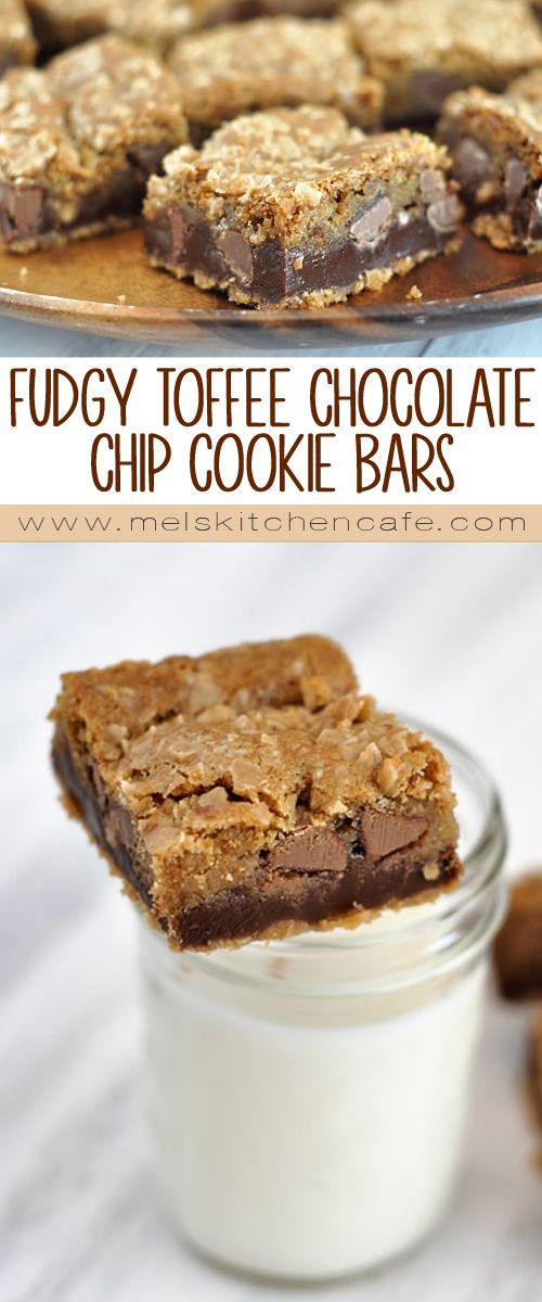 Fudge sandwiched between layers of graham cracker, toffee bits and chocolate chip cookie dough makes these fudgy toffee chocolate chip cookie bars irresistible.