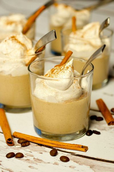 Coffee Pudding with Sweet Caramel Whipped Cream