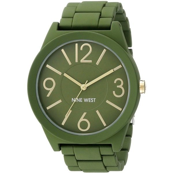 Nine West/1678GRGR Matte Green Rubberized Metal Bracelet Watch ($37) found on Polyvore featuring women's fashion, jewelry, watches, green watches, rubber watch bracelet, matte watches, metal jewelry and nine west jewelry