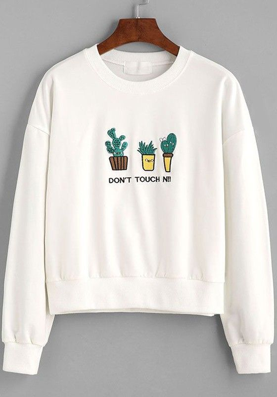 The cute plant embroidery makes this white sweatshirt special. Get one for your fall wardrobe at Fichic.com!