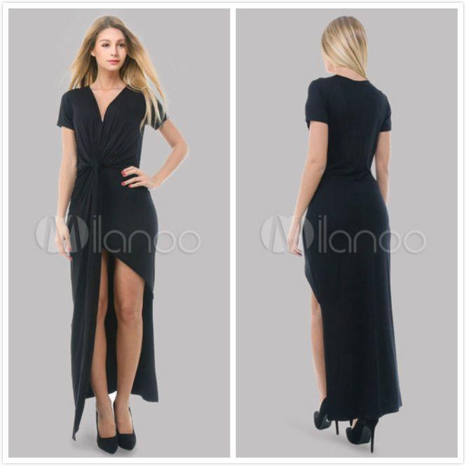 Vestito nero spandex per donne con fondo asimmetrico.