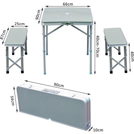 Fabulous table de camping pliable portable avec bancs pliables alu sr jardin piscine with chaise - Table de jardin la foir fouille ...