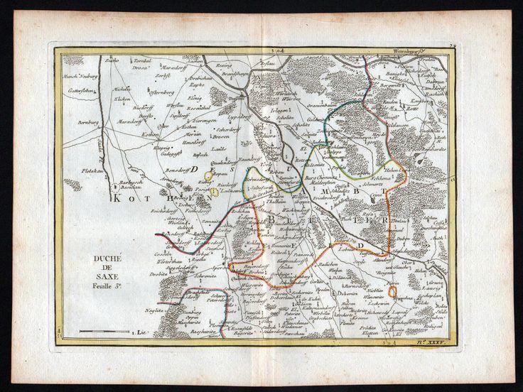 """Le Rouge, Georges Louis (1707-1790): """"Saxe Feuille 3"""" - Bitterfeld Wolfen Delitzsch Sandersdorf Brehna Dessau map Karte Le Rouge Kupferstich"""