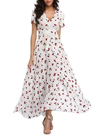 b42660368f5 VintageClothing Women's Floral Print Maxi Dresses Boho Button Up Split  Beach Party Dress, Off White&Cherry