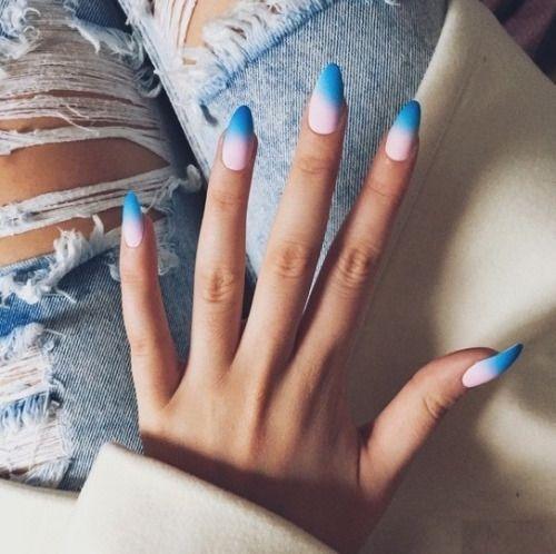 ombre blue + pale pink nails