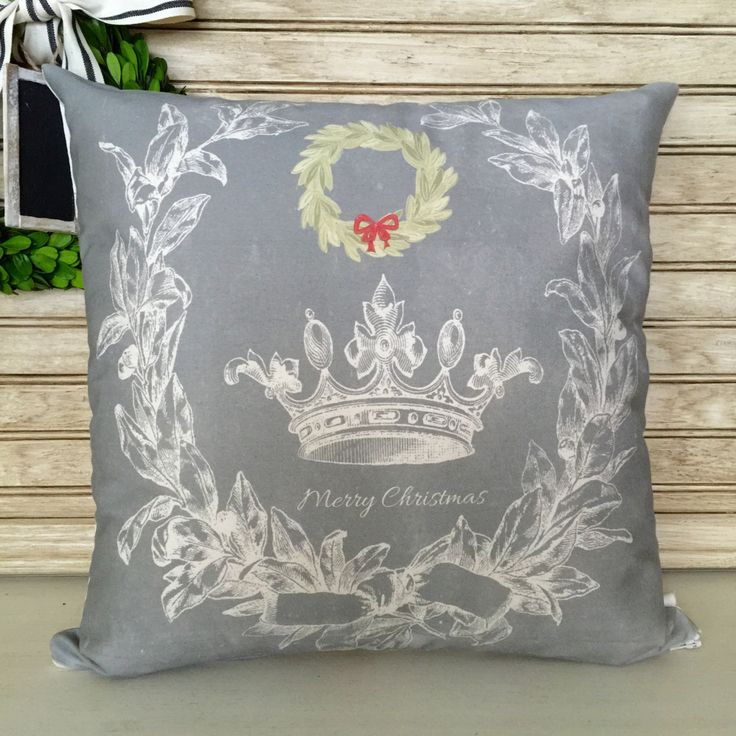 French Rustic Christmas | French Crown Pillow | Chalkboard Distressed Background | Farmhouse Decor | Insert Included | FREE SHIPPING by SimplyFrenchMarket on Etsy
