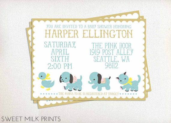 Printable Baby Shower Invitation Ducky Puppy Elephant Kitten Animal Parade