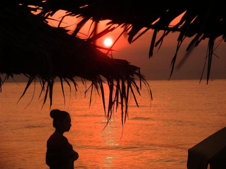 Woman silhouette at the sunset beach by Biljana Cvetković