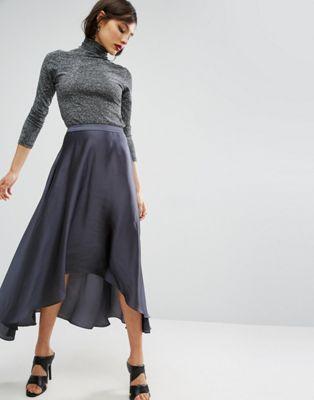 Атласная юбка миди с разрезами ASOS