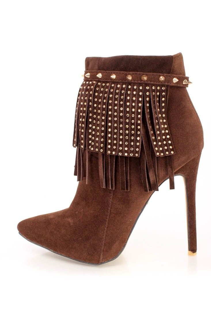 Suede Leatherette Buckle Studs Pointy Toe Strappy Studded Stiletto Ankle Bootie