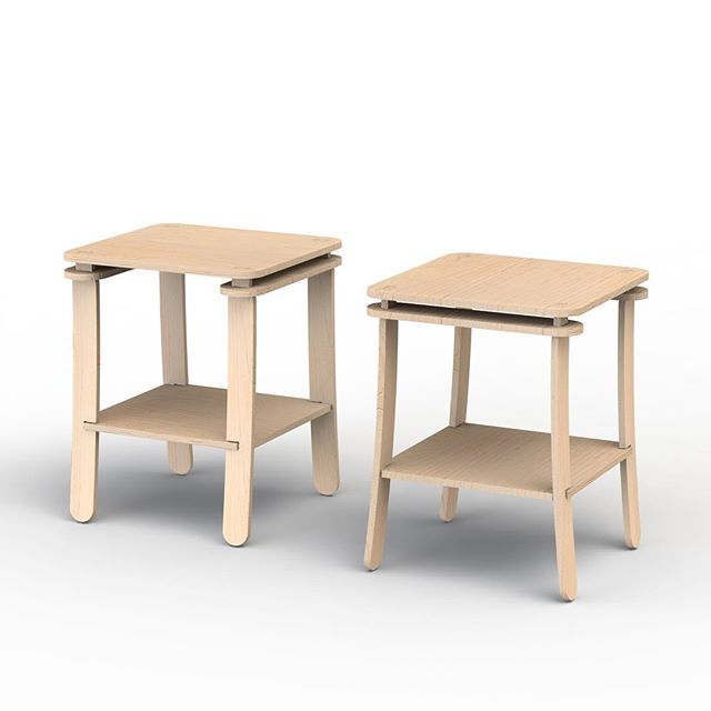 One piece of furniture, two different looks. Either bedside tables or a side tables.  The bottom shelf splays out the 4 legs holding them in position under tension. The two paddle pop sticks under the top add to the tension.  Can be shipped disassembled and assembled with no tools only
